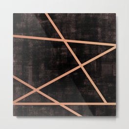 Rose Gold Striped Black Abstract Metal Print
