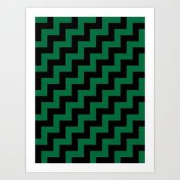 Black and Cadmium Green Steps RTL Art Print