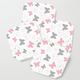 Pink Gray Butterfly Coaster