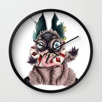 bucky Wall Clocks featuring Bucky by Maria Gabriela Arevalo Reggeti
