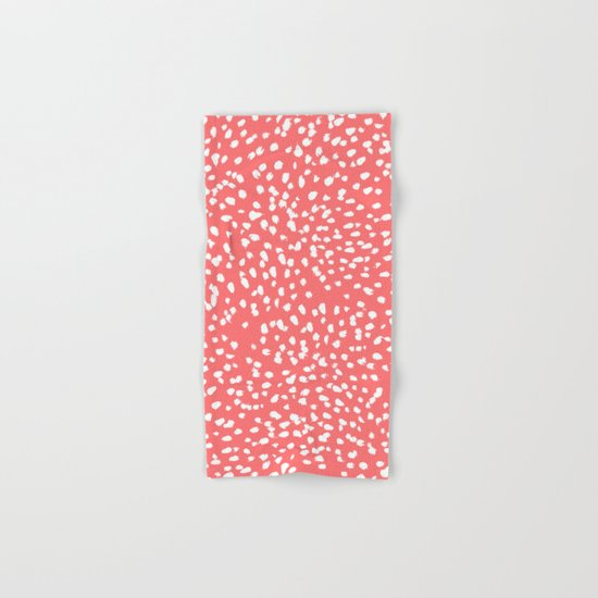 Claudia - abstract minimal coral dot polka dots painterly brushstrokes Hand & Bath Towel
