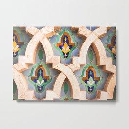 Flower Mosaics in Casablanca, Morocco Metal Print