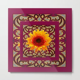 BURGUNDY Colored Golden Sunflowers  Grey Pattern Metal Print