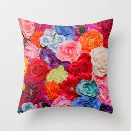Vibrant Rainbow Flowers Throw Pillow
