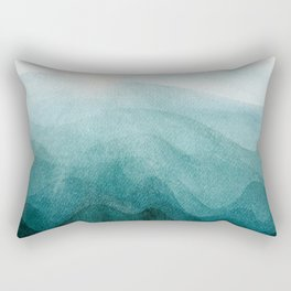 Sunrise in the mountains, dawn, teal, abstract watercolor Rectangular Pillow