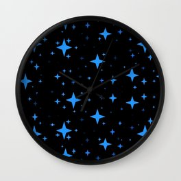 Bright Blue  Stars in Space Wall Clock