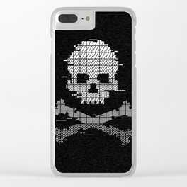 Pixel Crossbones Glith Clear iPhone Case