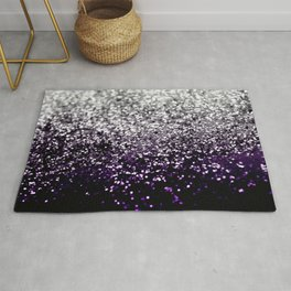 Dark Night Purple Black Silver Glitter #1 #shiny #decor #art #society6 Rug