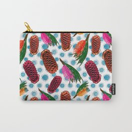 Beautiful Australian Native Floral Print - Grevillea and Beehive Ginger Carry-All Pouch