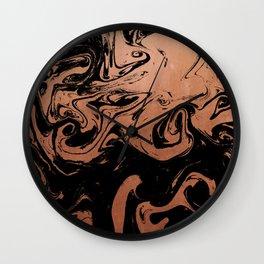 Suminagashi japanese spilled ink copper metallic marble pattern minimalist decor marbling Wall Clock