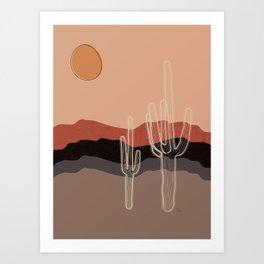 Dusty Saguaro Cactus in the Desert Art Print