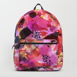 Peach Pink Tulip Floral Backpack