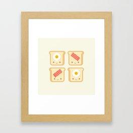 Cute Kawaii Bacon and Eggs Toast Framed Art Print
