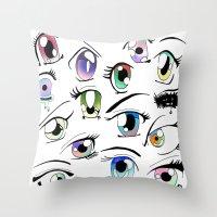 manga Throw Pillows featuring Manga Eyes by TAEMI.
