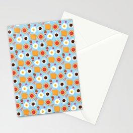 Trendy Breakfast & Coffee Food Pattern Stationery Cards