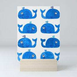 Blue Watercolor Whales Mini Art Print