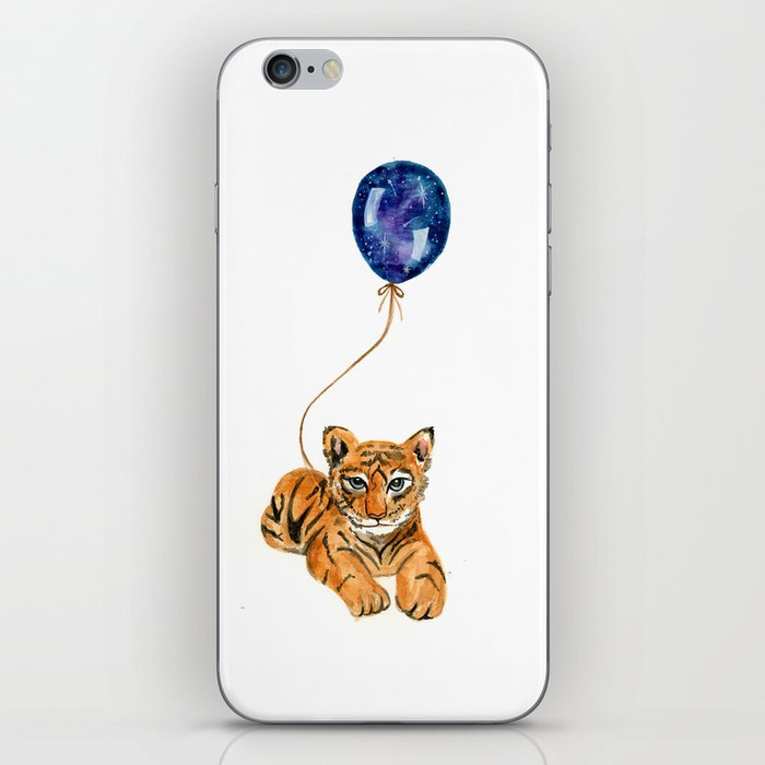 flying baby tiger watercolor painting  iPhone Skin