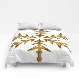 Minimalistic Golden Snowflake Comforters
