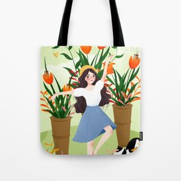 Beautiful Flower Lady Paint Tote Bag
