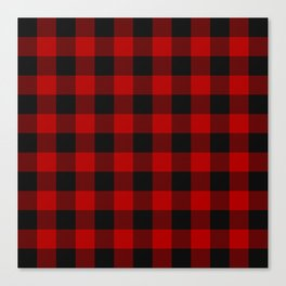 Red and black squares plaid print Canvas Print
