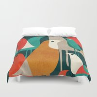 tropical Duvet Covers featuring Flock of Birds by Picomodi