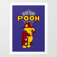 pooh Art Prints featuring Doctor Pooh by cû3ik designs