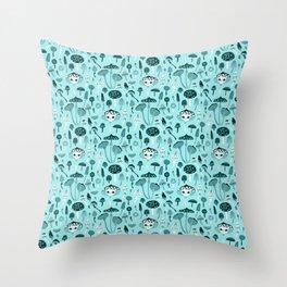 Mad Tea Party III - Mushrooms Throw Pillow