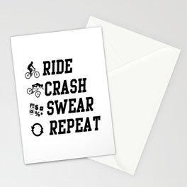 ride crash swear repeat bike ride fall down Stationery Cards