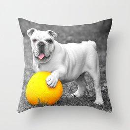 English bulldog white and the yellow ball Throw Pillow