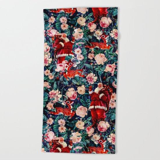 Santa Claus and Floral Pattern Beach Towel