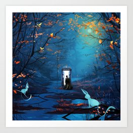 Tardis Lost In The Forest Art Print