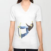 skateboard V-neck T-shirts featuring Skateboard 4 by Aquamarine Studio
