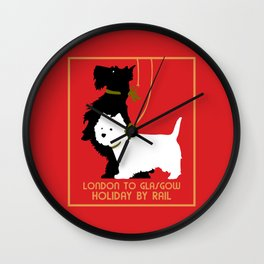 Retro London and Glasgow by train, dogs terriers Wall Clock