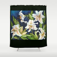 casablanca Shower Curtains featuring Casablanca Lilies by Frances Bledsoe