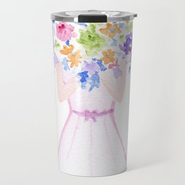 GIRL HOLDING BOUQUET OF FLOWERS / THANK YOU / CONGRATULATIONS / BIRTHDAY Travel Mug