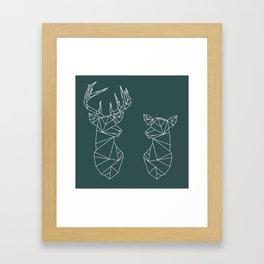 Geometric Stag and Doe (White on Slate) Framed Art Print