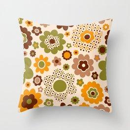 Retro 70s funky flowers brown, orange, green Throw Pillow