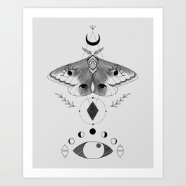 Metaphys Moth - Gray Art Print