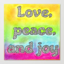 Pastel Art | Love Peace and Joy Canvas Print