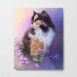 Calico Kitty In The Garden Metal Print