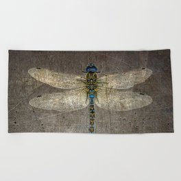 Dragonfly On Distressed Metallic Grey Background Beach Towel