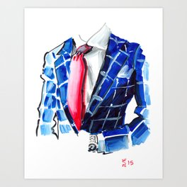 Red Tie and Blue Checkers Art Print