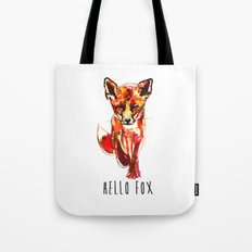 Cute Little Red Fox water colour ink Tote Bag