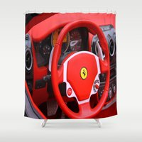 ferrari Shower Curtains featuring Ferrari Fizz by Scattered_Stars