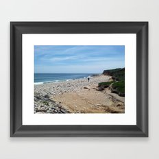 On Your Own, Beach, sea and blue skies Framed Art Print