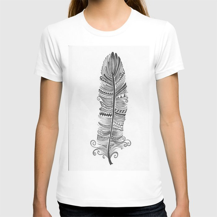 Black and White Feather Zen T-shirt