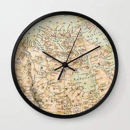 North America Vintage Map Wall Clock