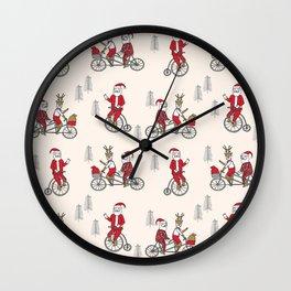 Santa christmas holiday hipster kids tandem bike with reindeer Wall Clock