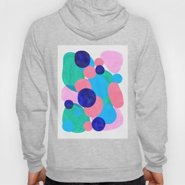 Mid Century Modern Minimalist Abstract Painting Pastel Pink Blue Teal Bubbles Cool Shapes Fun Patter Hoody
