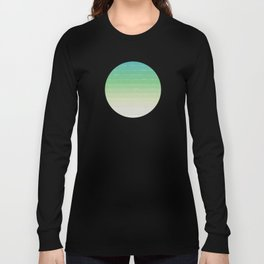 Shades of Ocean Water - Abstract Geometric Line Gradient Pattern between See Green and White Long Sleeve T-shirt